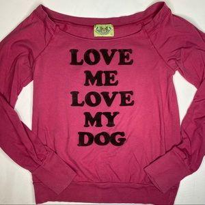 JUICY LONG SLEEVE — love my dog (burgundy top)